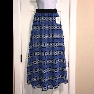 NWT LulaRoe Lucy Blue/Black Aztec Maxi Skirt XS